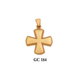 Solid gold byzantine style polished cross pendant