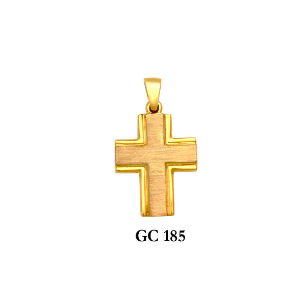 14K solid gold outlined cross pendant