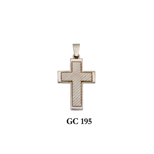 14K Solid gold line designed cross pendant