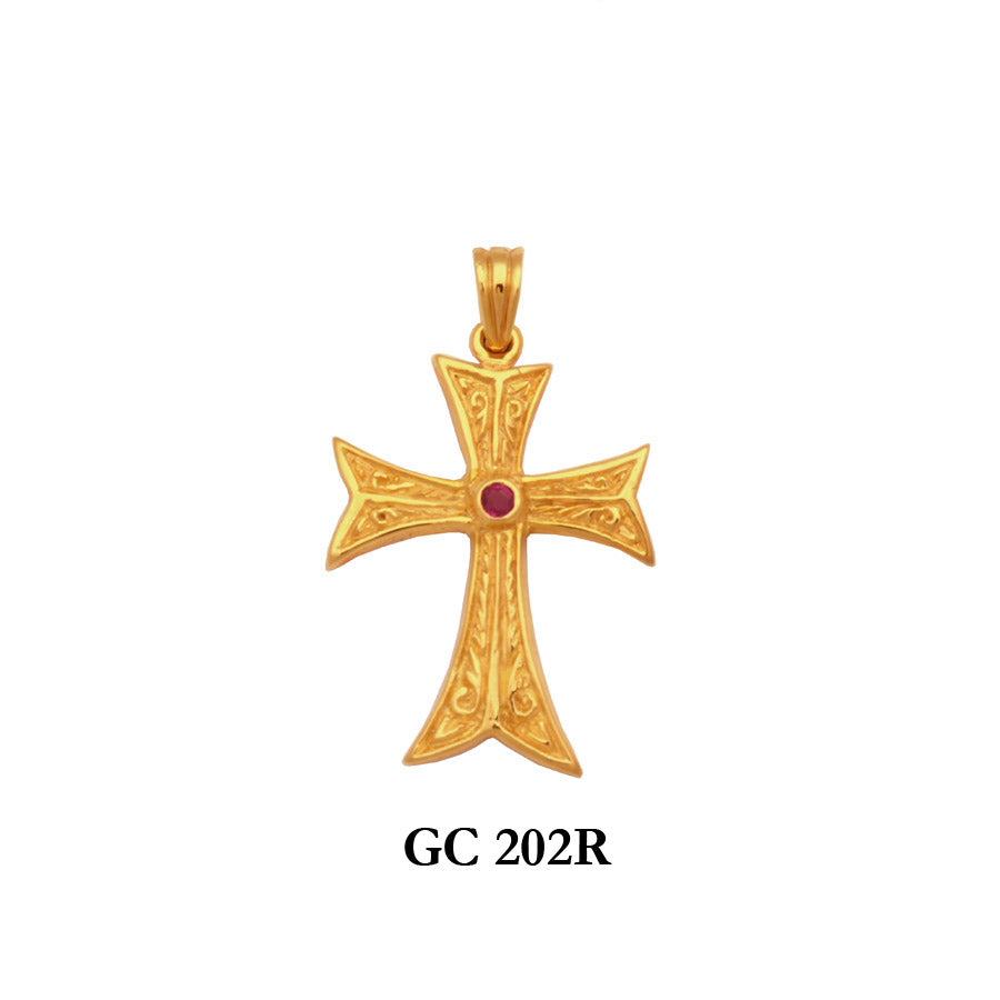 Solid gold designed genuine ruby cross pendant