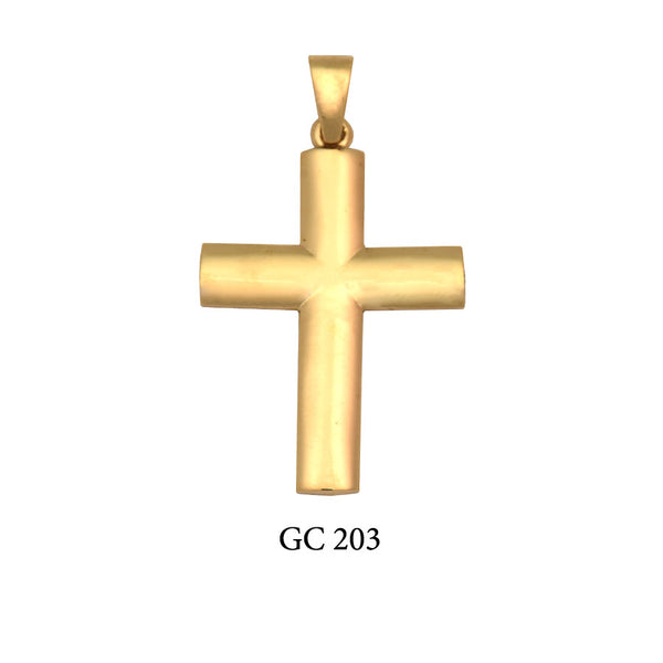 14K Solid gold high polished men's cross
