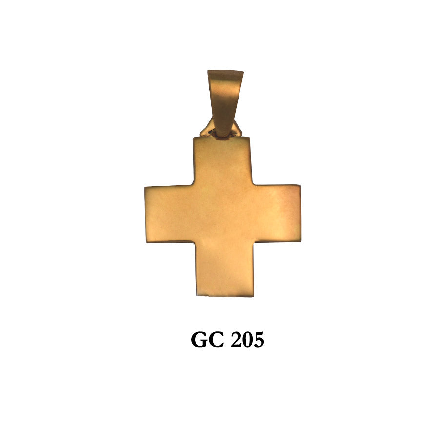 14K Solid gold graceful square cross pendant