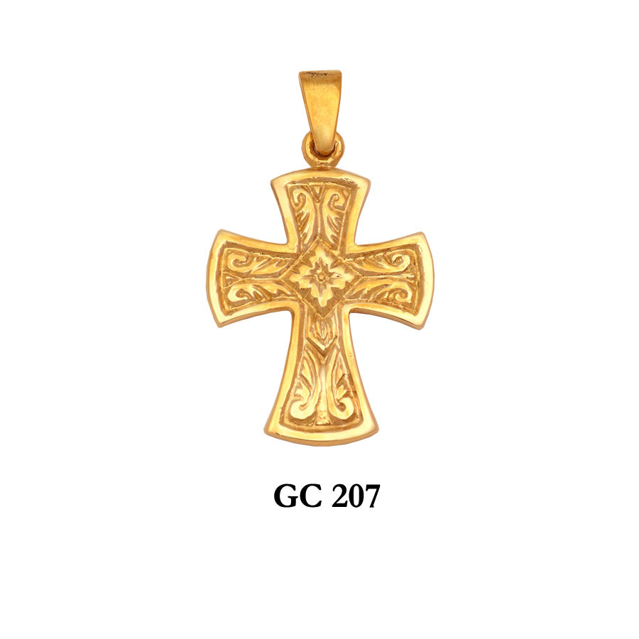 14K Solid gold ornated cross pendant