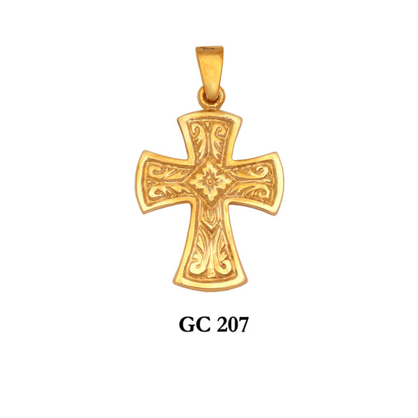 14K Byzantine solid gold ornated cross pendant