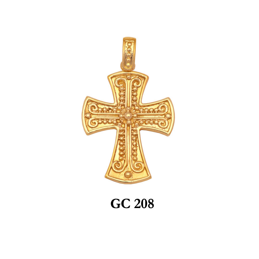 14K Byzantine solid gold detailed cross pendant