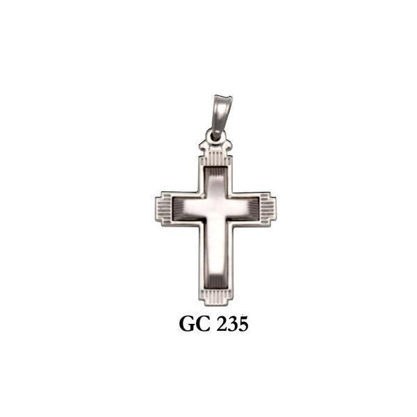 14K White gold 2-sided cross pendant