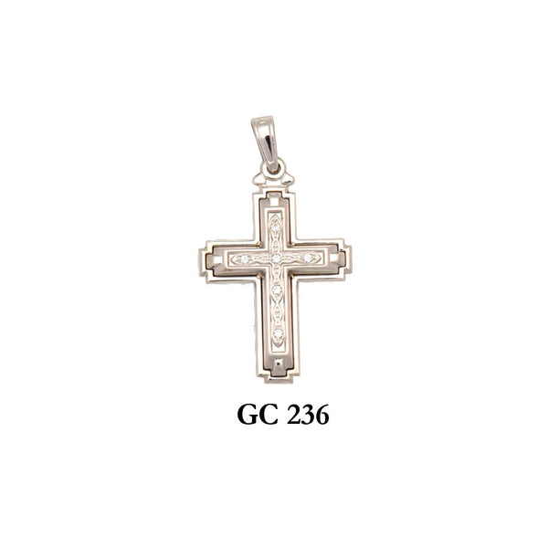 white gold 2-piece textured cross pendant with CZs