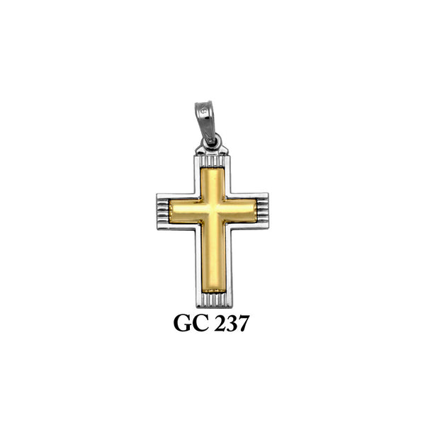 14K Solid gold yellow and white sandblasted cross pendant