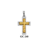 14K Solid gold yellow and white 2-piece textured cross pendant