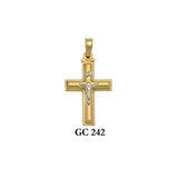 Solid gold satin 2-piece crucifix cross pendant