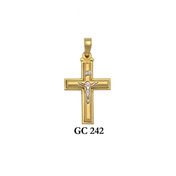 14K Solid gold satin 2-piece crucifix cross pendant