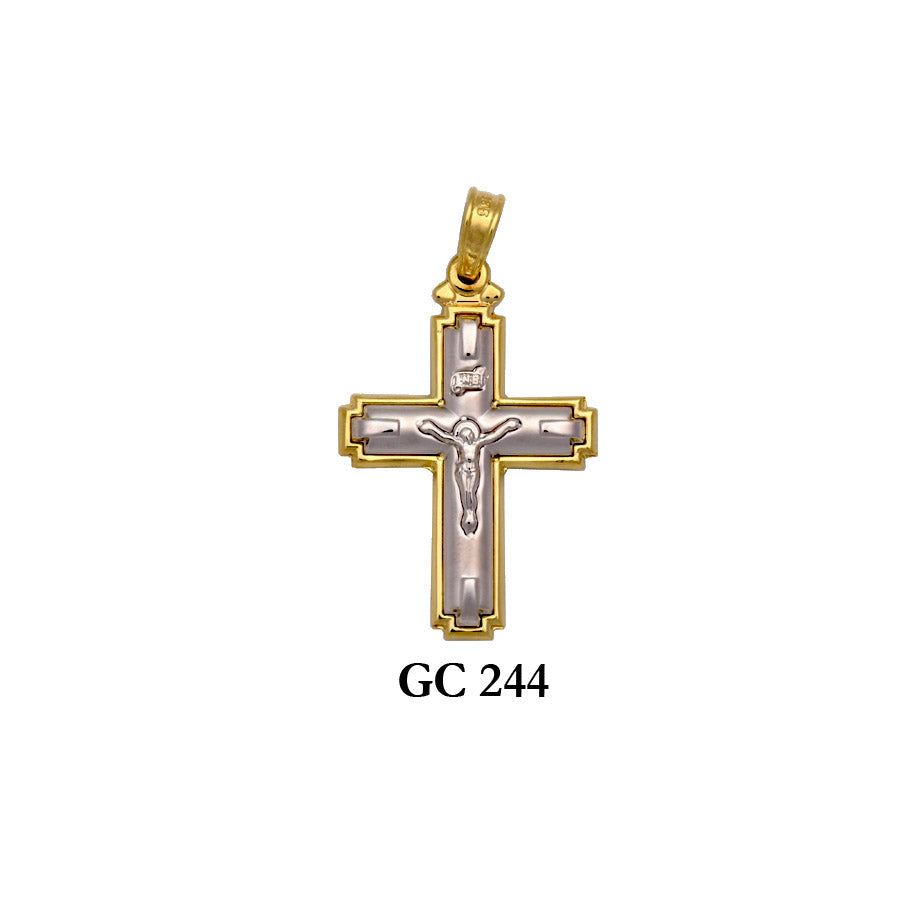 Solid gold yellow and white crucifix cross pendant