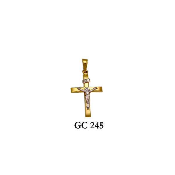 14K Gold yellow and white crucifix cross pendant