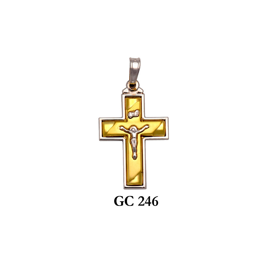 Solid gold yellow and white 2-piece crucifix cross pendant