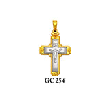 14K gold 2-piece yellow and white ornated crucifix cross pendant