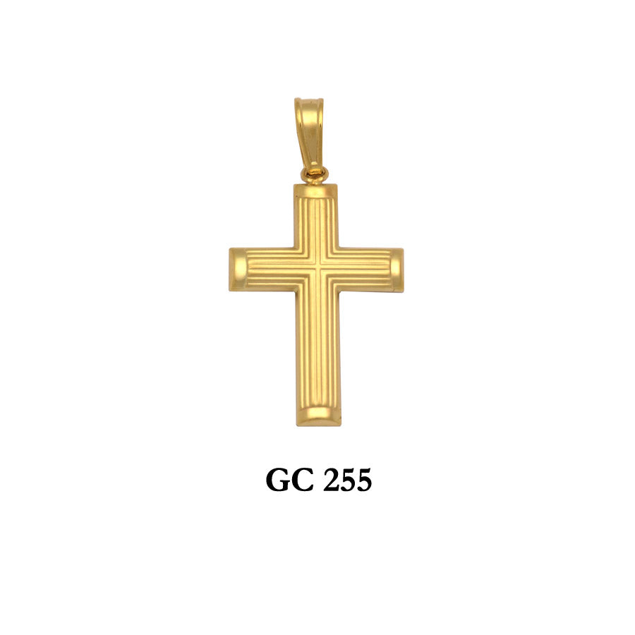 gold lined design cross pendant