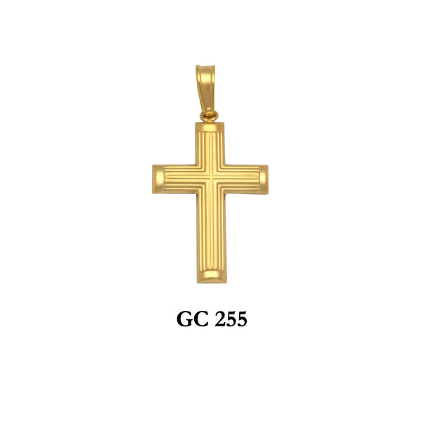 14K gold lined design cross pendant