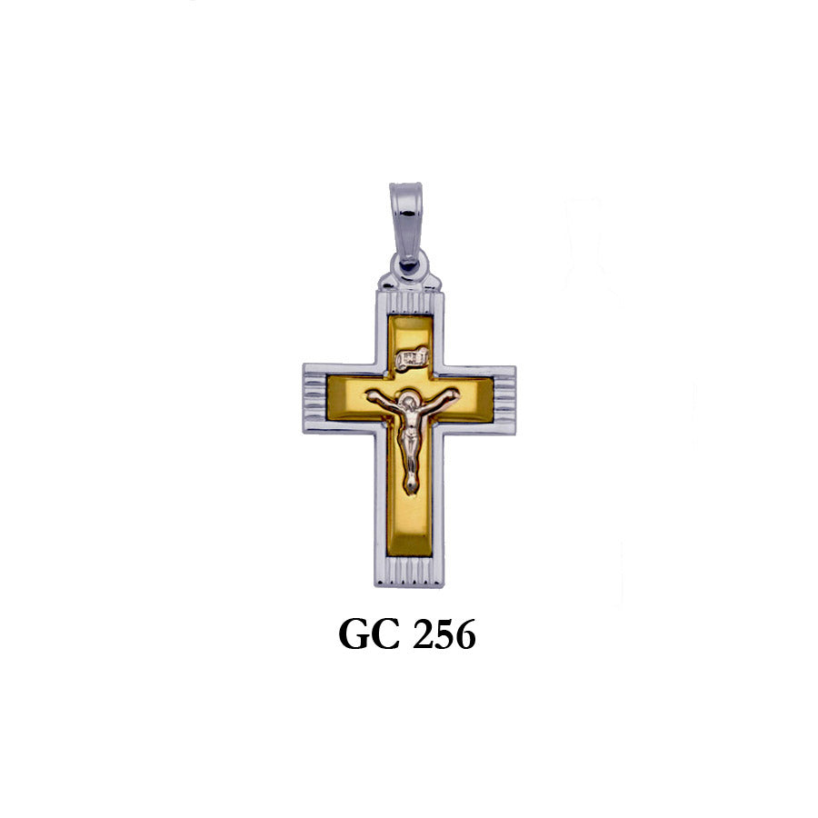 Solid gold yellow and white crucifix 2-piece cross pendant