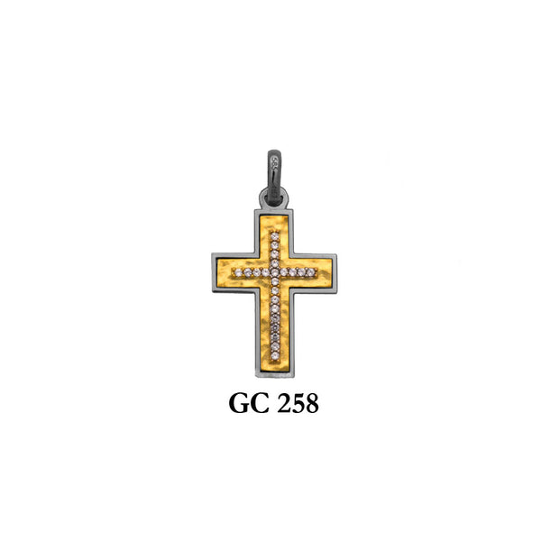 14K Solid gold hammered design 2-piece cross pendant with CZs  in yellow and white