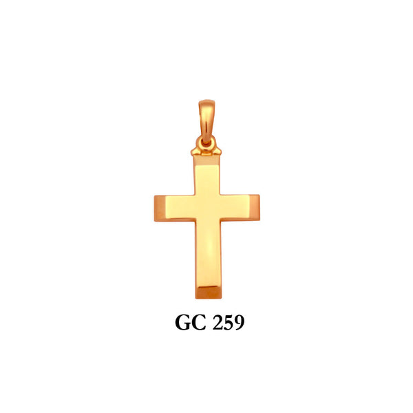14K Solid gold flat glossy cross pendant