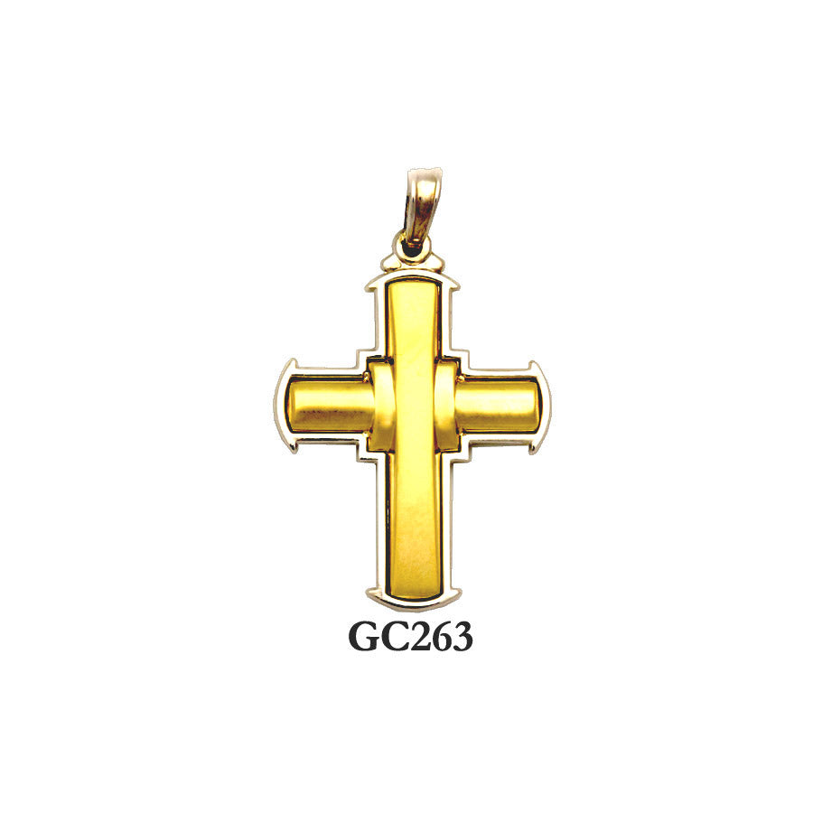 Solid gold yellow and white raised cross pendant