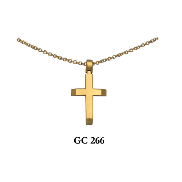 14K Yellow Gold elegant cross pendant with chain