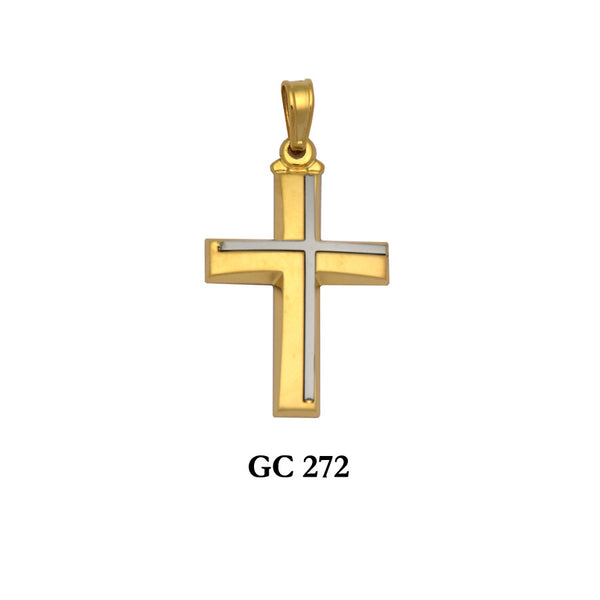 14K Yellow and White Gold 2-piece modern cross pendant