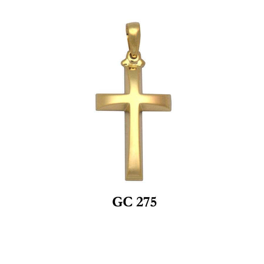 14K Solid Gold raised design polished cross pendant