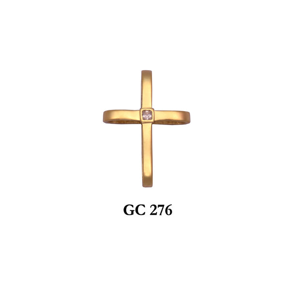 14K Yellow gold simple and stylish cross pendant with cz center