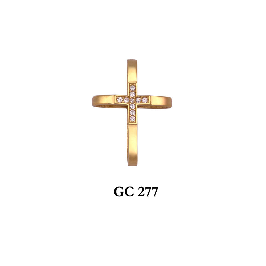 14K Yellow gold simple and stylish cross pendant with czs in center