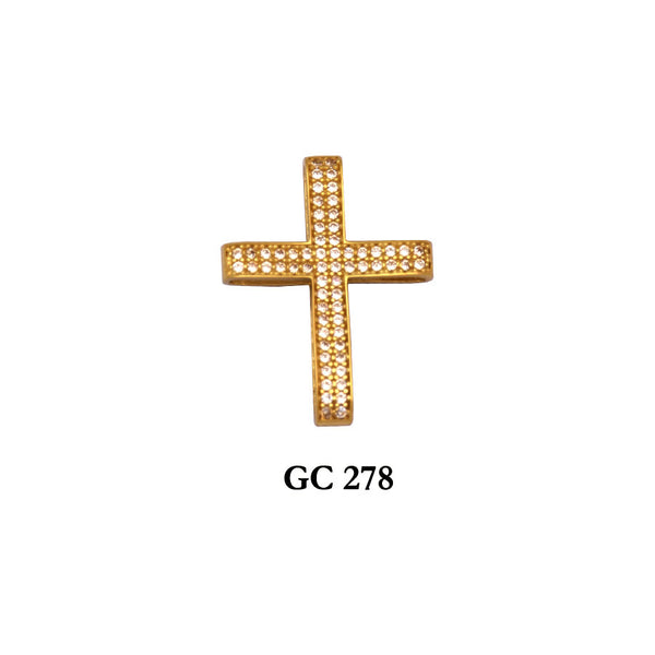 14K Yellow Gold elegant cross pendant with czs for all occasions