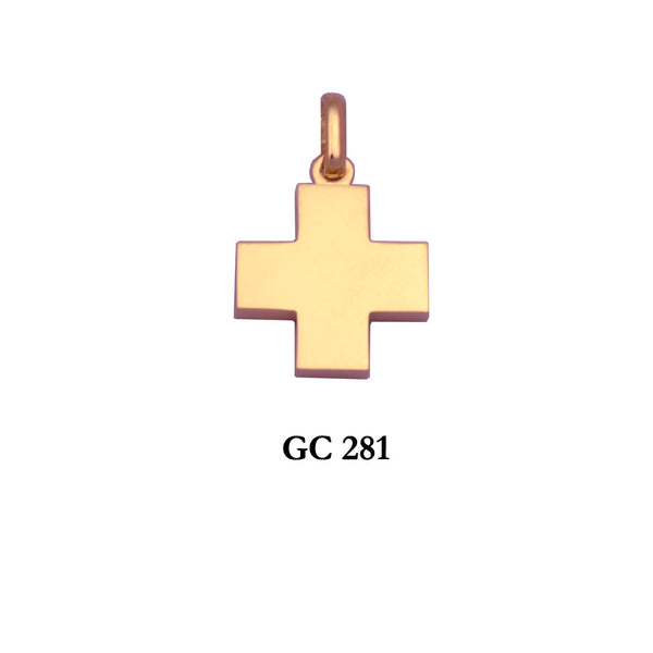 14K Yellow gold simple square symmetrical thick cross pendant