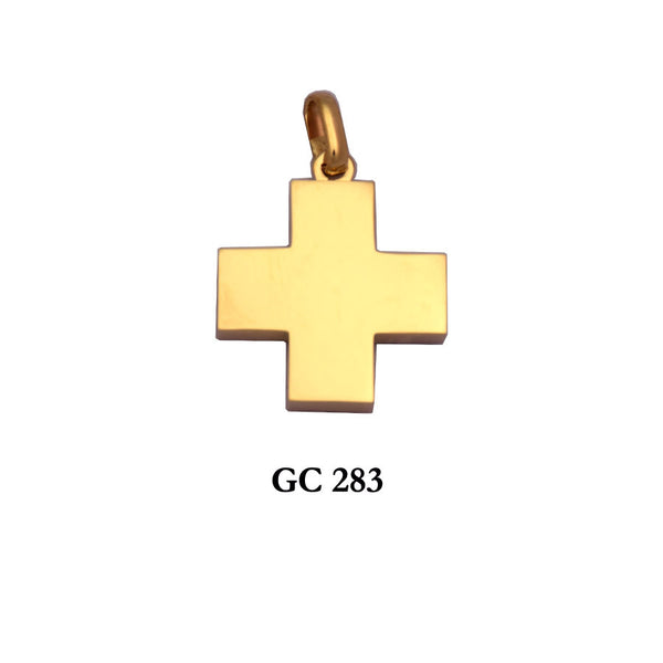 14K Yellow Gold thick square cross pendant