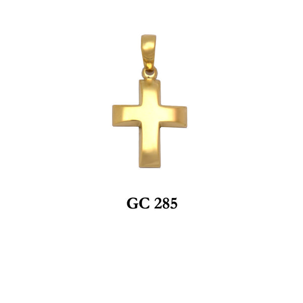 14K Solid  Yellow gold raised polished cross pendant