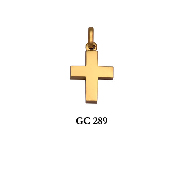 14K Solid  Yellow gold thick symmetrical polished cross pendant