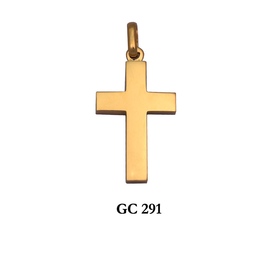 14K Yellow gold polished thick cross pendant