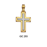 14K Solid Yellow and White Gold cross pendant