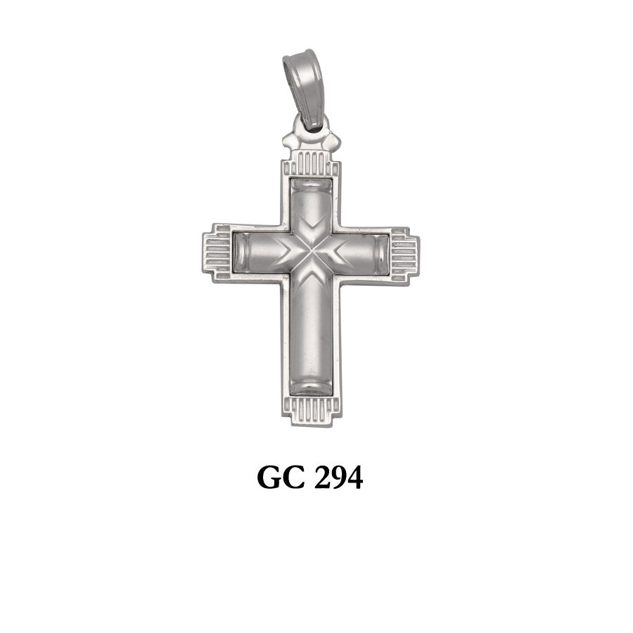 14K White gold 2 sided detailed cross pendant
