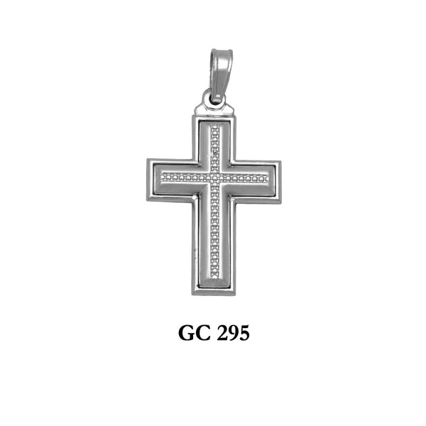 14K White gold 2-sided detailed cross pendant
