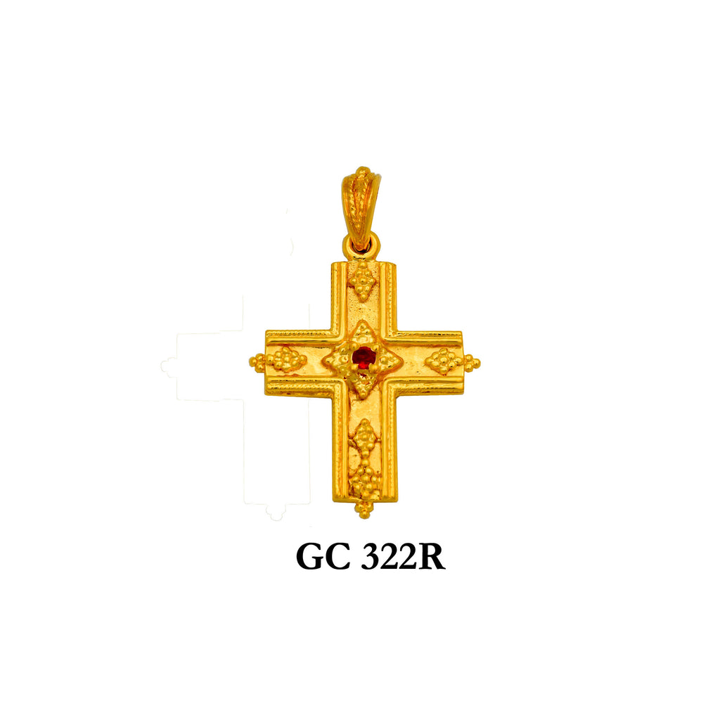 14K Solid gold designer's genuine ruby cross pendant