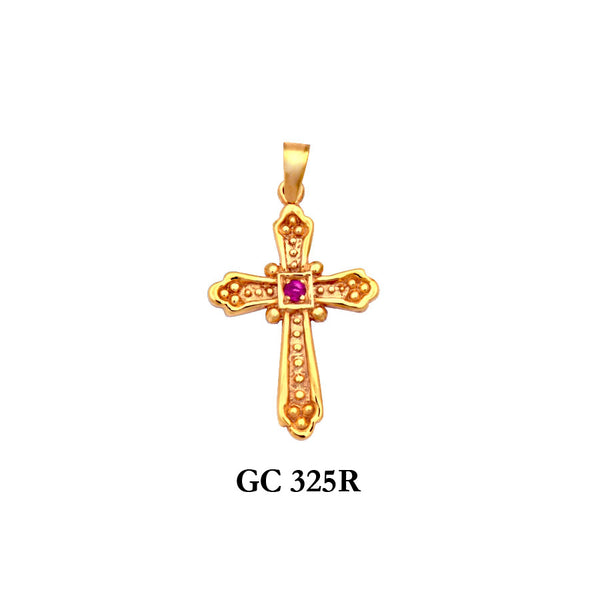 14K Solid gold designers genuine ruby cross pendant