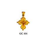 14K Solid gold detailed flattering cross pendant