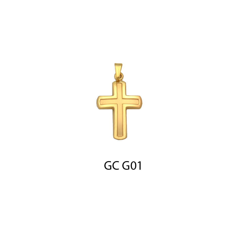 14K gold glossy finish cross pendant