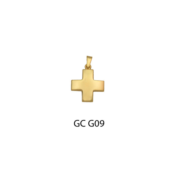 gold square cross pendant