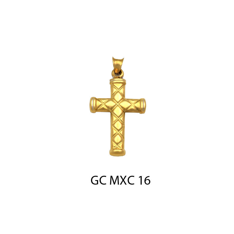 14K Yellow Gold polished design cross pendant