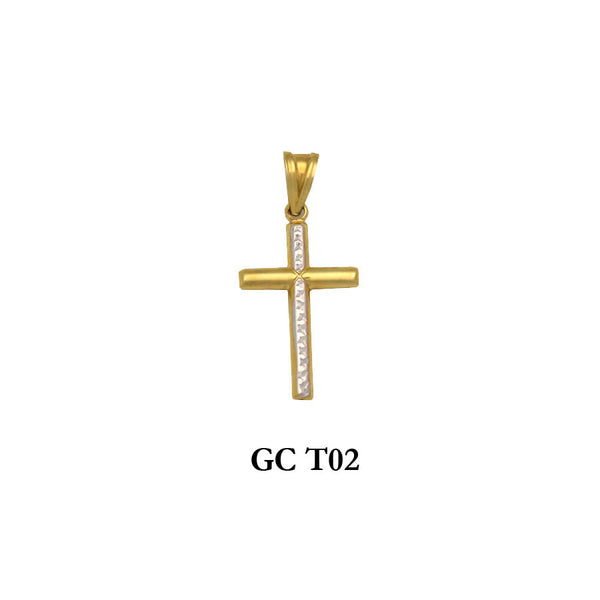 gold two-tone round cross pendant