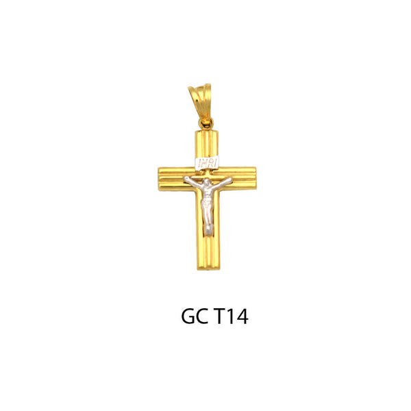14K Gold two-sided ribbed design flat crucifix cross pendant