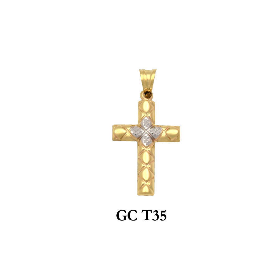 gold two-tone designed cross pendant