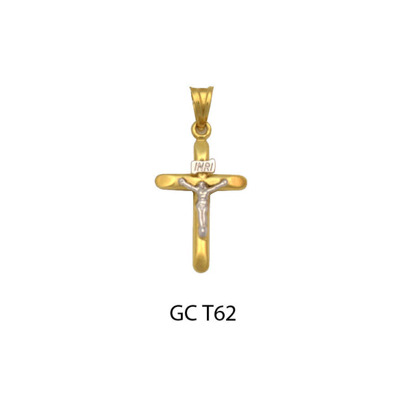 14K Gold two-tone round crucifix cross pendant