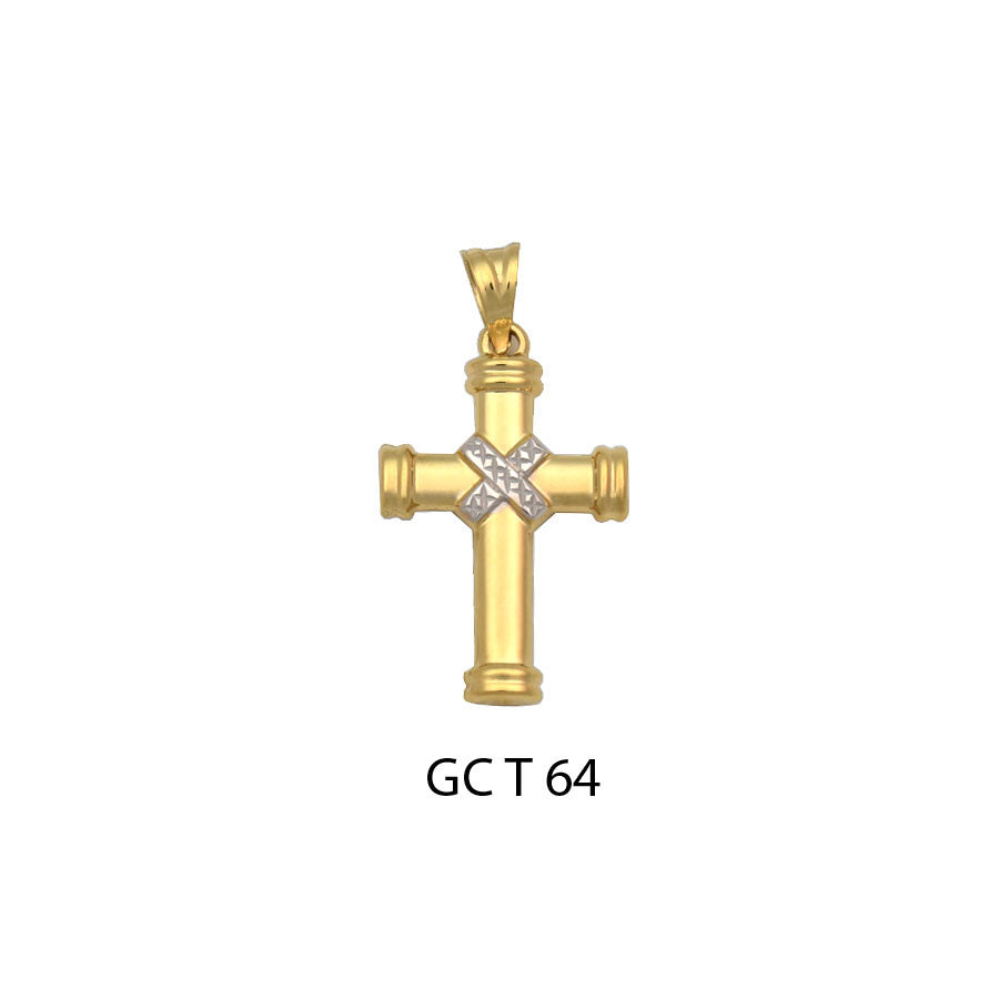 14K gold glossy two-tone cross pendant